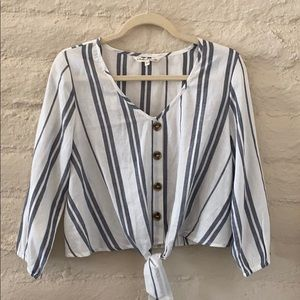 Indulge White & Grey Button w/Tie Blouse